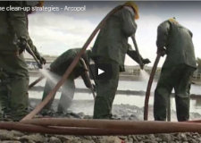 Video presenting shoreline clean-up techniques in the event of an oil spill